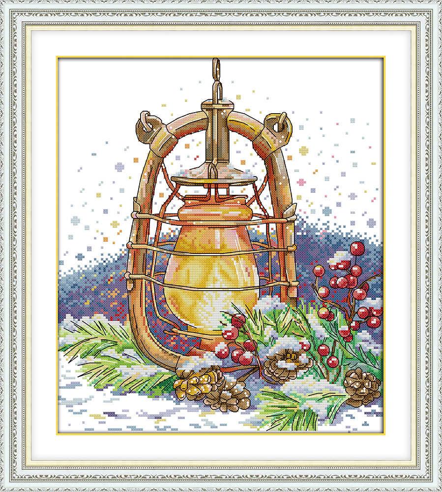 Снежная ночь масляная лампа пейзаж Картина Счетный принт на холсте DMC 11CT 14CT комплект Китайский крестиком для вышивки набор