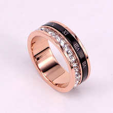 Trendy Rose Gold Rotate Rings  Women Roman Numerals Word Female Cubic Zirconia Stainless Steel Ring for Women trendy rose gold rings for women rings cubic zirconia brand designers female stainless steel wedding bands ring