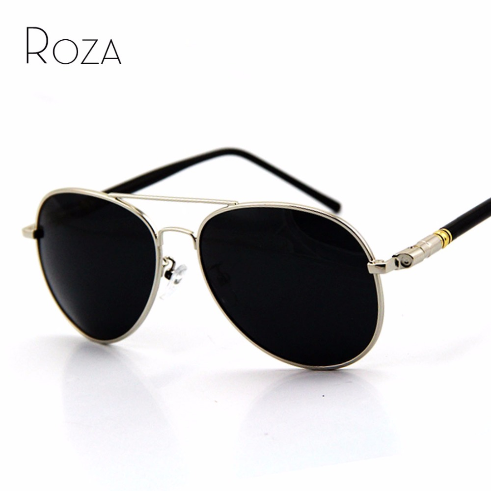 ROZA Retail Brand Retro Alloy Frame Polarized Sunglasses Men Sun Glasses Polaroid lens 4 colors UV400 QC0029