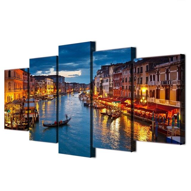 Hd Drukowane 5 Sztuka Płótno Obrazy Wenecja Miasto Wody łódź światła