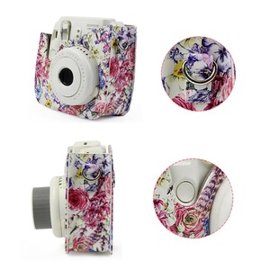 Image 3 - Oil Painting Rose PU Leather Instant Camera Shoulder Bag Protector Cover Case Pouch for Fujifilm Instax Mini 9 Case mini 8 8+