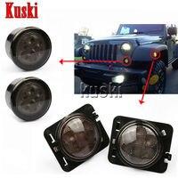 4Pcs Black LED Front Fender Flares Turn Signal Light Car LED Side Marker Lamp For Jeep