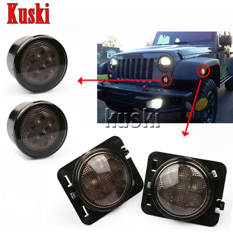 4Pcs Black LED Front Fender Flares Turn Signal Light Car LED Side Marker Lamp For Jeep Wrangler JK 2007~2015 Amber Accessories
