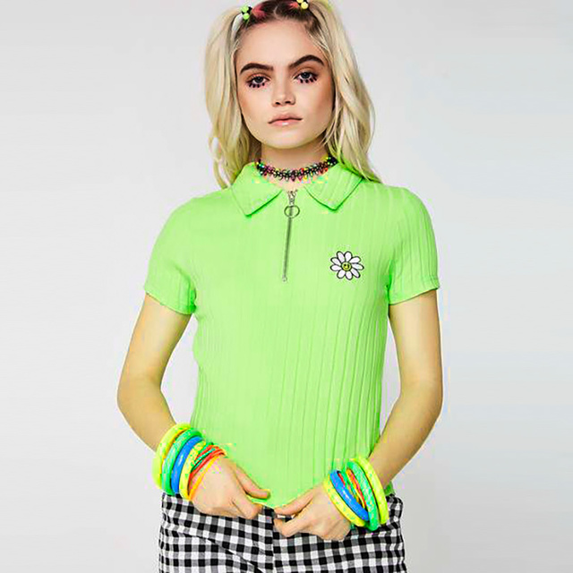 Ins Lazy Oaf sweater Green Small Fresh Daisy Embroidered Polo Shirt Short Sleeved cropped top