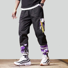 Streetwear Patchwork Cargo Pants Men Joggers Pocket Pant Harem Sweatpants Male Hip Hop Skateboard Trousers US Size GY35