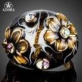 АЗОРА Уникальный Дизайн Позолоченный Черный Цветок Stellux Австрийских Кристаллов Картина Маслом Pattern Кольцо для Женщин TR0158