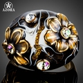 AZORA Unique Design Gold Plated Black Flower Stellux Austrian Crystal Oil Painting Pattern Ring for Women TR0158
