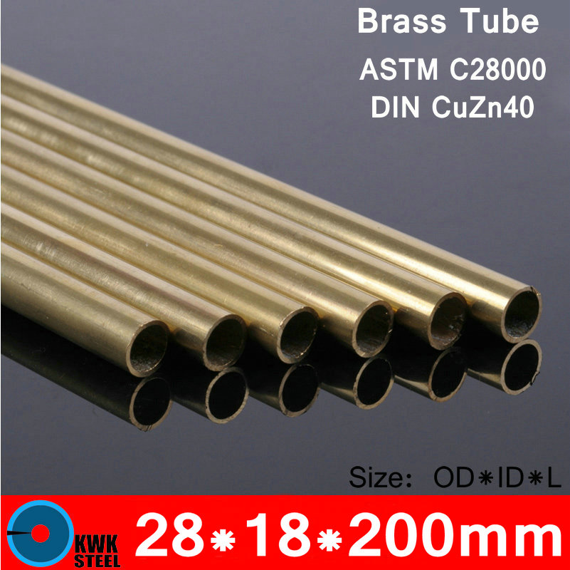 28*18*200mm OD*ID*Length Brass Seamless Pipe Tube of ASTM C28000 CuZn40 CZ109 C2800 H59 Hollow Bar ISO Certified Free Shipping 5pcs 304 stainless steel capillary tube 3mm od 2mm id 250mm length silver for hardware accessories