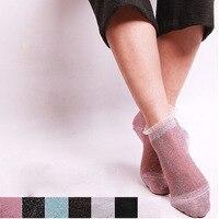 Women Girls Short Ankle Sock Ultrathin Transparent Colorful Glitter Crystal Silk Lace Elastic Sexy Socks
