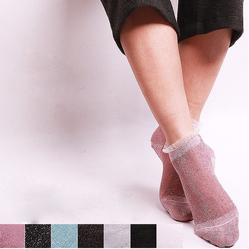 Women Girls Short Ankle Sock Ultrathin Transparent Colorful Glitter Crystal Silk Lace Elastic Sexy Socks