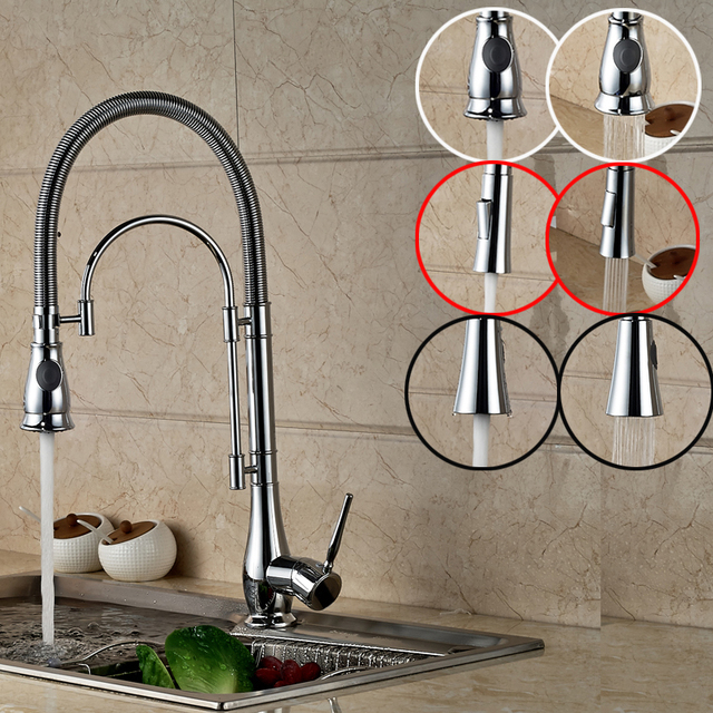 Multiple Types Kitchen Sink Faucet With Single Handle One Hole Chrome  Finish High Quality Water Taps