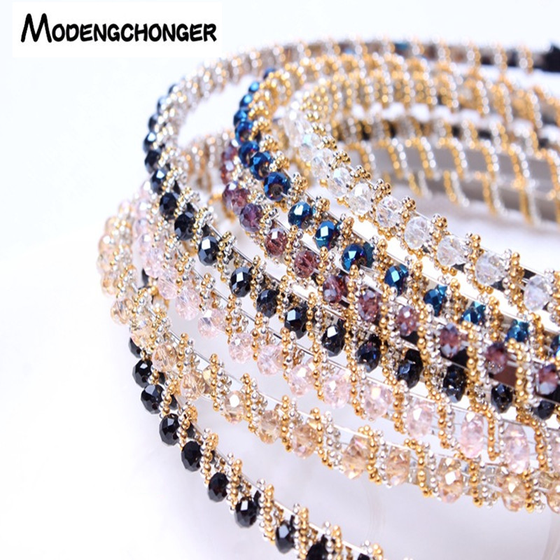 For Women Girls Shiny Luxury Rhinestone Hair Band High Quality Diamond Hair Hoop Non-slip Headband Hair Bezel Hair Accessories