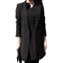 цена на Spring Autumn 2015 Women Blazer Lapel Collar Long Sleeve Single Button Lady Black Work Long Jacket Coat feminino Bussiness Work