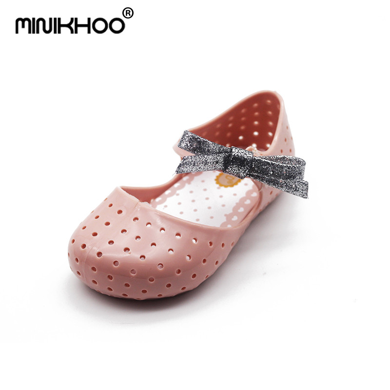 Mini Melissa Jelly Sandals Flash Bow Cute Girl Jelly Sandals Breathable Children Shoes Beach Sandals Girl Shoes Soft 14-16.5cm