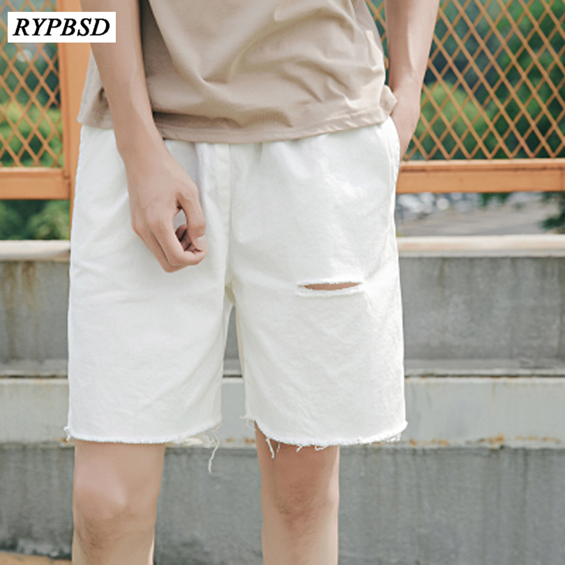 Summer New 2018 Solid Color White Black Loose Ripped Shorts Men Hole Shorts Straight Casual Jeans Shorts Men Bermuda ...