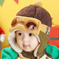 Free Shipping Wholesale Winter Kid's Cute Red Bomber Hats Children's Tilley Knit Caps 1-5old years Baby Pilot Hat Sales