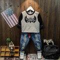 Chicos camisetas de Manga Larga Niños Batman Patrón Suéteres Muchachas de Los Bebés Unisex Tops 2016 Nuevas de La Manera Camisetas ropa de bebé