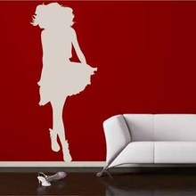 Free Shipping urban fashion sexy skirt girl glass home decor wall stickers woman comic cartoon logo decal art removable Poster