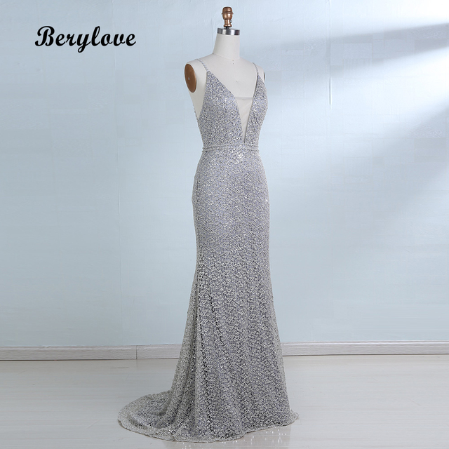 BeryLove Hot Selling Mermaid Sliver Prom Dresses 2018 Deep V Neck Backless  Long Evening Dresses Sexy Prom Dresses Evening Gowns 1ead75483499