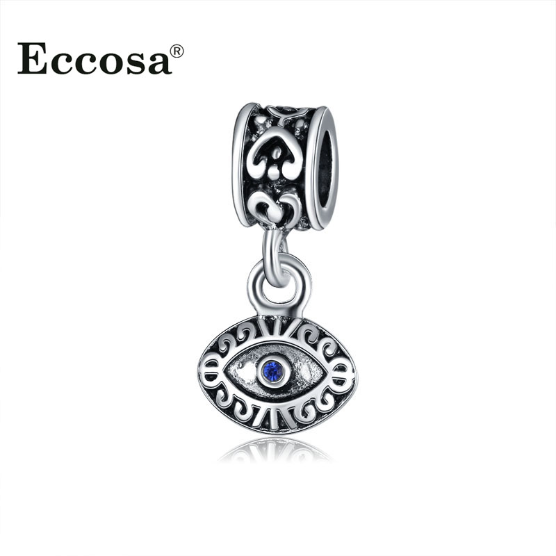 Original Pandora Charms Antique Silver Plated Blue Crystal Evil Eyes Beads For DIY Necklace Bracelet Jewelry Making Accessories