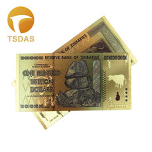 Zimbabwe One Hundred Trillion Dollars Gold Banknote in 24k Plated Pure 10pcs/lot For Collection