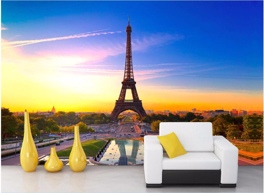Custom mural photo 3d wallpaper The view of the Eiffel Tower in Paris decoration painting 3d wall murals wallpaper for walls 3 d the custom of the country