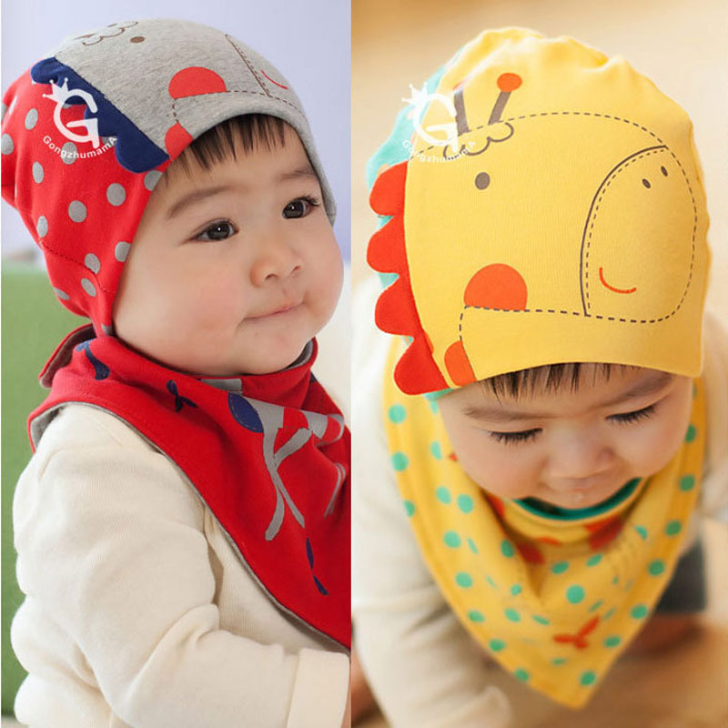 Retail Free Shipping Giraffe Baby Beanie And Bandana Bibs Hat Sets For Baby Girls And Boys