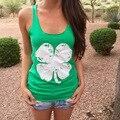 Лето новинка клевер печатных женский топы-сексуальный женская футболка горячая распродажа