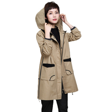 Spring Female Windbreaker 2020 Autumn Loose Trench Coat Women Large Size Hooded