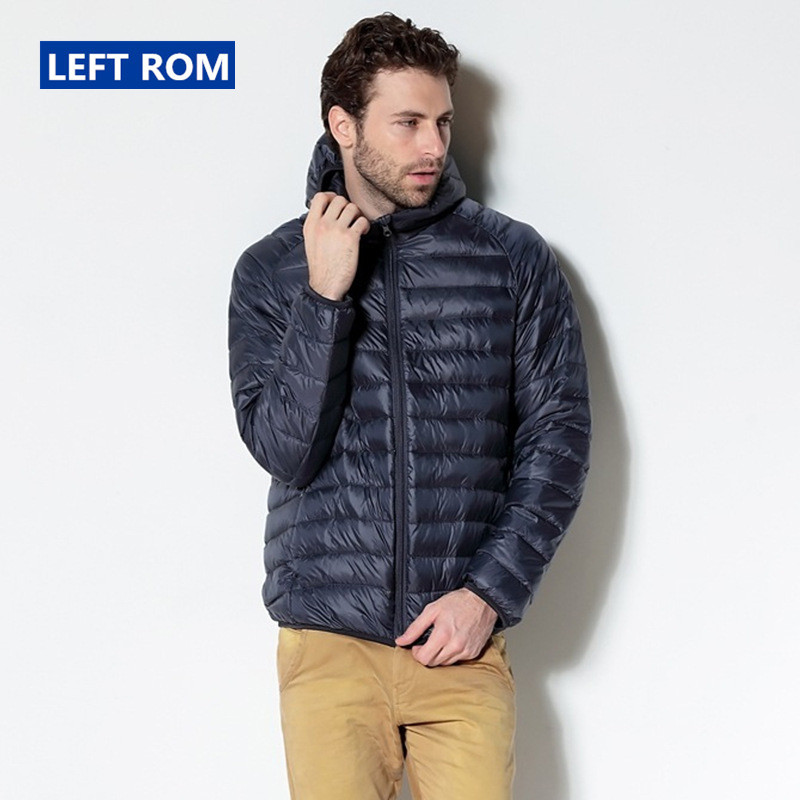 Left ROM Autumn And Winter Mens Fine Quality Thin and Light Casual Hooded Down Jackets Premium Brand Comfortable Men Down Coats