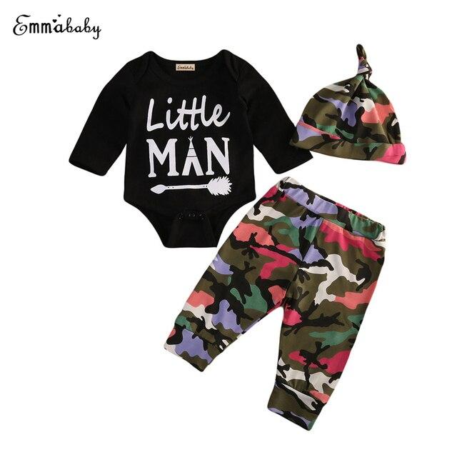 2ebe41e5c93e 3Pcs Cute Camo Set Newborn Baby Boys Clothes Kids Long Sleeve Romper ...
