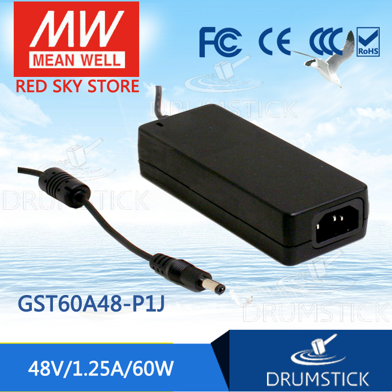 Selling Hot MEAN WELL GST60A48-P1J 48V 1.25A meanwell GST60A 48V 60W AC-DC High Reliability Industrial Adaptor 12 12 mean well gst60a12 p1j 12v 5a meanwell gst60a 12v 60w ac dc high reliability industrial adaptor