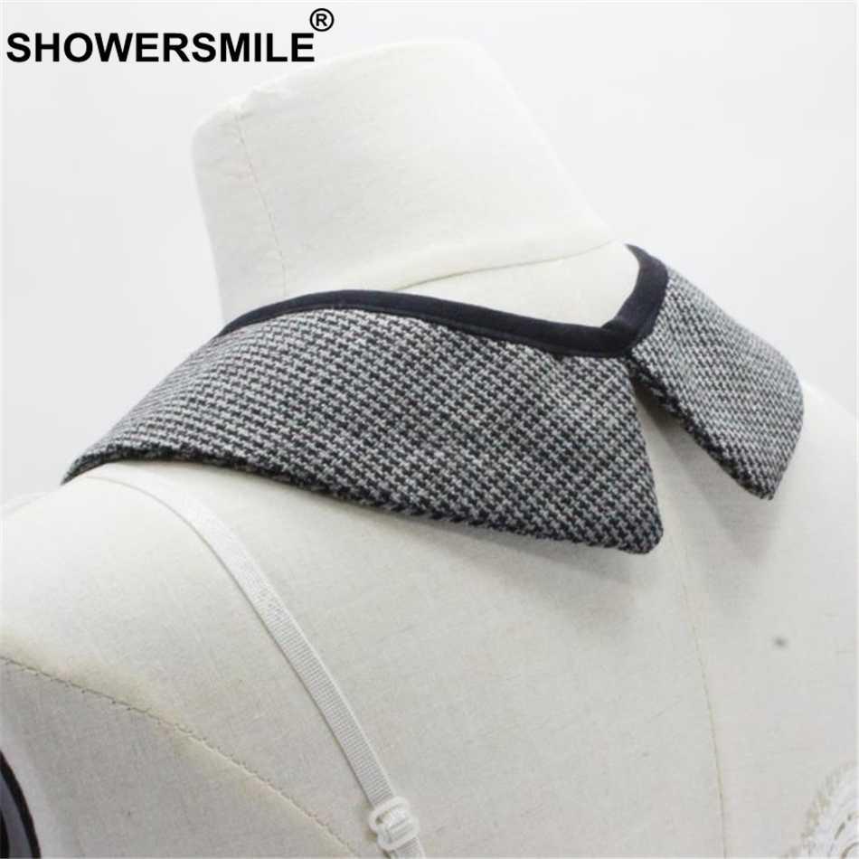 SHOWERSMILE Поддельный Воротник для женщин Весна черный плед съемный воротник женский Британский стиль брендовые винтажные накладные воротнички съемные