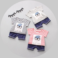 Summer Baby Boys Short Sleeve Striped Print Cartoon T Shirt Tops Bear Shorts Infant Two Pieces
