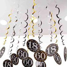 6 шт. ПВХ спираль с днем рождения вихревой 18 21 30 40 50 60 70 лет висячие украшения на день рождения Аксессуары для вечеринки, дня рождения Декор
