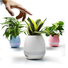 Intelligent Wireless Speaker Mini Bluetooth Smart Music Flowerpot with Colorful LED Light Music Box Touch Control Piano Decor