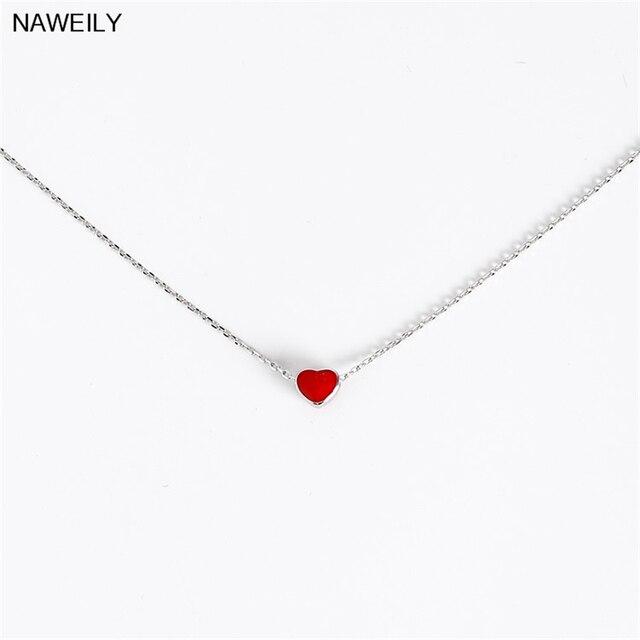 c4e5226ecc81 Naweily simple corazón rojo Colgantes plateado Cadenas corto clavícula  Collar para las mujeres Nueva joyería de