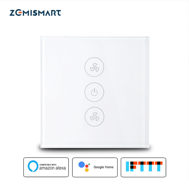 Zemismart EU US Alexa Echo Smart Ceiling Fan Switch Wifi APP Timer Speed Group Control Speed Regulation Home Wall Switch