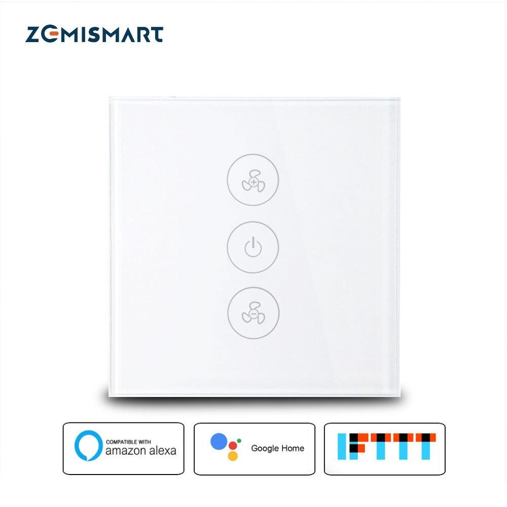 Zemismart UE US Alexa Echo Intelligent Ventilateur de Plafond Interrupteur Wifi APP Minuterie Vitesse Groupe Contrôle Vitesse Règlement Accueil Interrupteur Mural