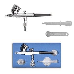 Image 1 - Kit daérographe double Action avec compresseur, pistolet de pulvérisation, pour maquillage, Nail Art, tatouage, décoration