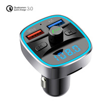 Quick Charge 3.0 Car Charger for Huawei P30 Pro Handsfree FM Transmitter Bluetooth MP3 Player Dual USB Fast Phone