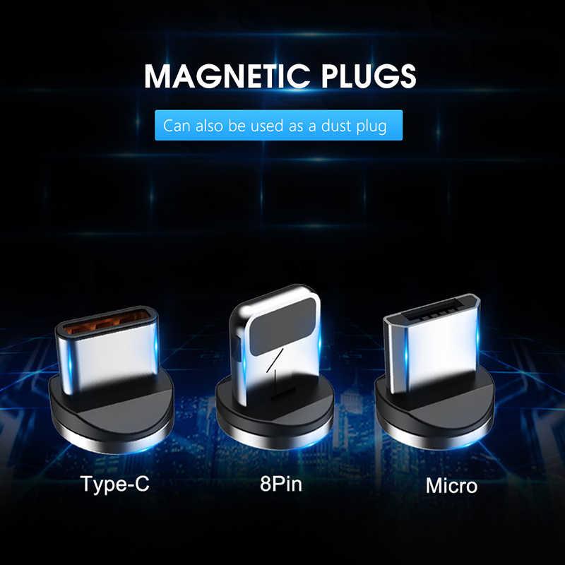 Nohon 3 em 1 cabo de carga ímã rápido led iluminação 8 pinos micro usb tipo c para iphone x 7 8 6 xiaomi 4 cabos de carregamento magnético