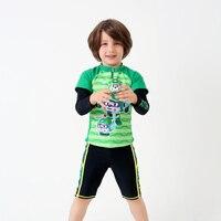 Jongen Scheidt Badpakken 3 stks/set Lange Mouwen Shirt + Kofferbak Kinderen Baby Jongens Groene Zwart Badpak Jongens Zonnebrandcrème badmode