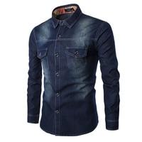 Brand Men Shirt Solid Color Long Sleeve Denim Shirt Men Casual Slim Fit Breathable Turn Down Collar Jeans Men Shirt Plus 6XL