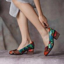 Artdiya Original Spring New Thick Heels Women Shoes Genuine Leather National Style Flowers Round Toe Handmade Shoes Size 41-42 цена 2017
