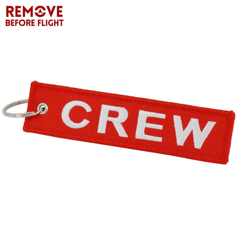Đồ trang Sức thời trang Crew Keychain OEM Xe Máy Móc Khóa llaveros Hành Lý Tag Thêu Phi Hành Đoàn Key Ring Chain cho Quà Tặng Hàng Không