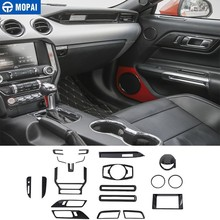 MOPAI Interior Mouldings Kit Carbon Fiber Grain Car Decoration Cover Sticker Accessories for Ford Mustang 2015-2017