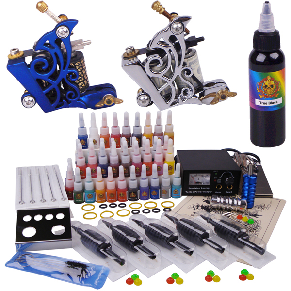 Professional complete tattoo kit 2 top tattoo gun cosmetic for Best tattoo starter kit