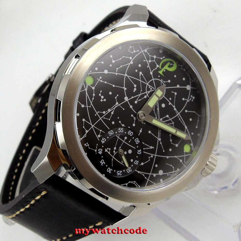 2017 new arrive 44mm mens parnis constellation steel Case Leather Sapphire glass Luminous 6498 hand Winding uhr Watch nahemah nahemah a new constellation