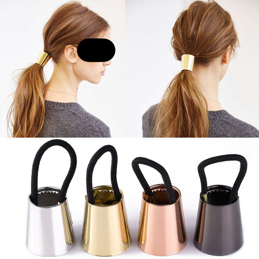 Chic Woman Metal Elastic Ponytail Holder Hair Cuff Wrap Tie Band Ring Rope Cool